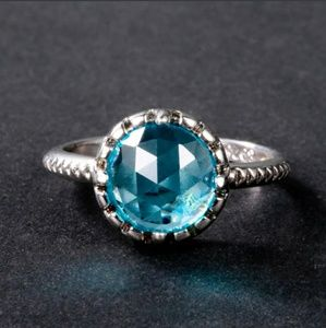 New arrival silver s925 faux aquamarine ring